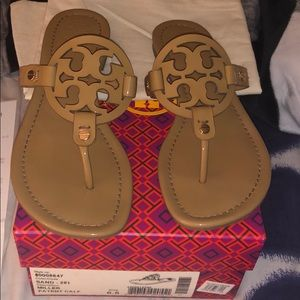 Authentic Tory Burch Miller flat sand